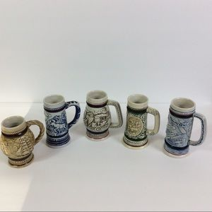 1980's Collectable Avon Mini Beer Steins Set Of 5